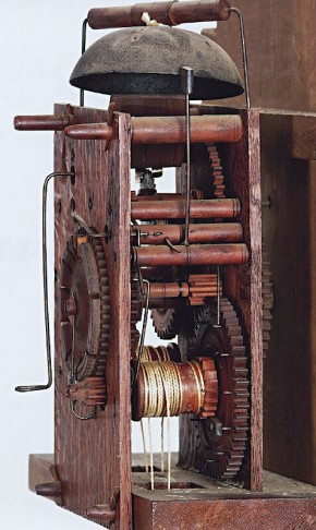 Wooden works tall clock movement made by Riley Whiting of Winchester, CT.