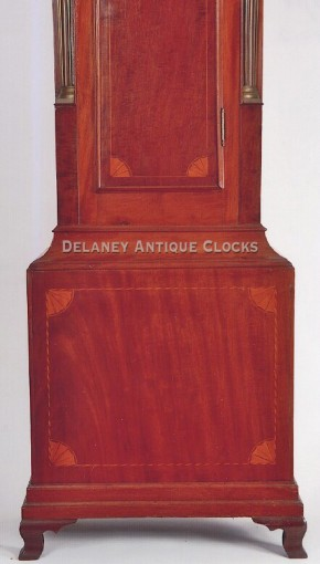 Aaron Willard tall case clock.  Quarter fan inlaid base panel.