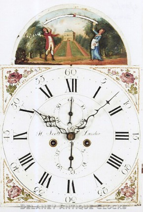 Tall clock painted dial. H. Scott of Lauder, Scotland.  An automated dial (Shuttlecock).