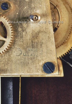 Seth Thomas wall regulator No. 7 movement die-stamp.