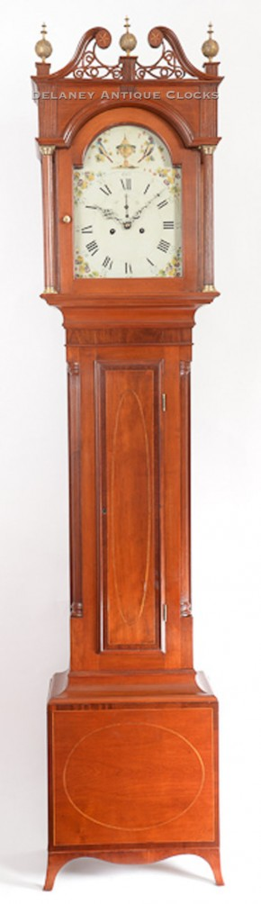 Philander Noble of Westfield, Massachusetts.  An inlaid cherry case tall clock.