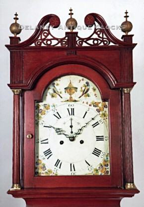 Philander Noble of Westfield, Massachusetts.  Clockmaker. An inlaid cherry case tall clock.