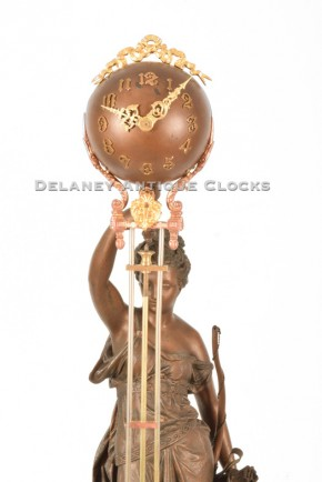Ansonia Huntress Ball Swing Clock.  The figure is Diana.  Delaney Antique Clocks.