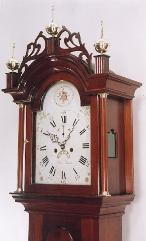 Silas Parsons tall clock hood.  Swanzey, New Hampshire.