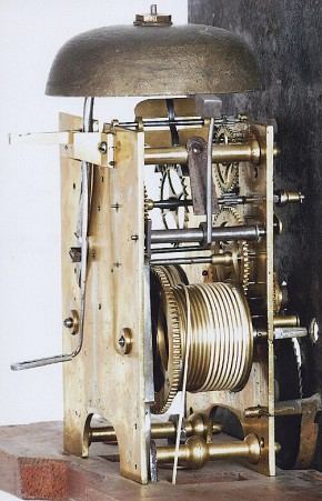 An unsigned South Eastern Massachusetts tall case clock movement.