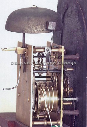 Ezra Batchelder clockmaker working in Danvers, Massachusetts. A clock movement.