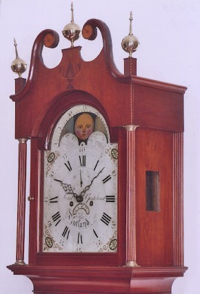 Lord & Goddard Rutland, Vermont. No. 98.  A tall case Vermont clock. bonnet