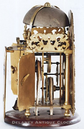 Benjamin Sudlow of Yarmouth, England.  A miniature time and alarm lantern clock.  Another side view.