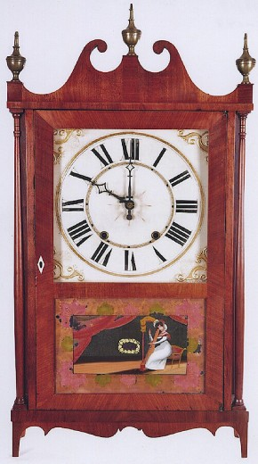 Riley Whiting of Winchester, Connecticut.  Pillar & Scroll shelf clock. -SOLD-