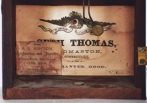 "Seth Thomas of Thomaston, Connecticut.  Clockmaker's label on the ""Rustic."""