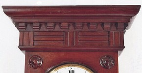 A mahogany cased wall regulator detail. A. Witte of Sufferin, New York.