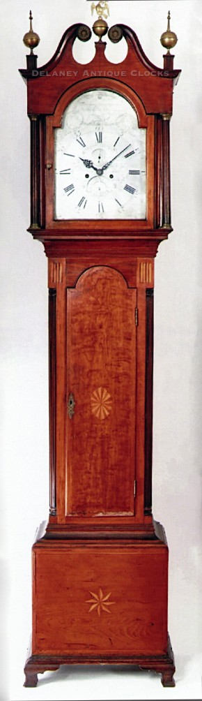 "Eleazer Baker of Ashford, Connecticut.  An Inlaid cherry case tall clock that is dated ""1790"" and numbered ""12."""