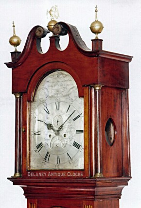 "Eleazer Baker of Ashford, Conn.  An Inlaid cherry case tall clock that is dated ""1790"" and numbered ""12."""