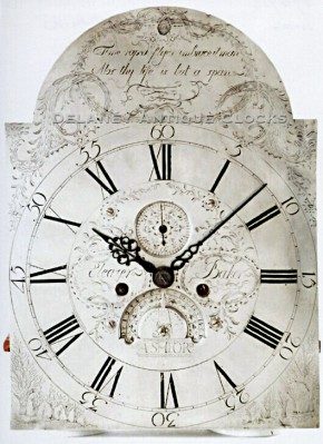Eleazer Baker of Ashford, Connecticut.  A signed engraved brass tall clock dial.