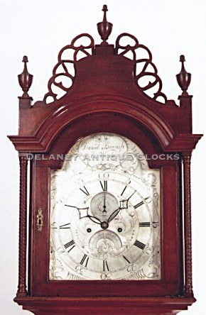 Daniel Burnap of East Windsor, Connecticut. A cherry case tall clock hood with frets.