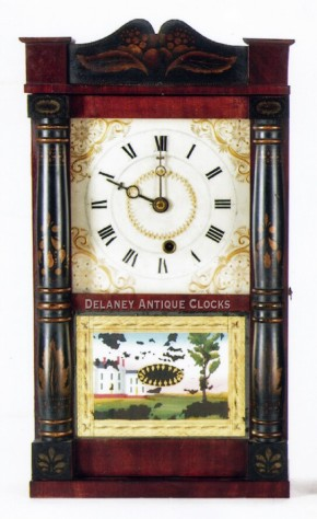Miniature stencil column and splat shelf clock. Made by Treat & Bishop for George Mitchell.