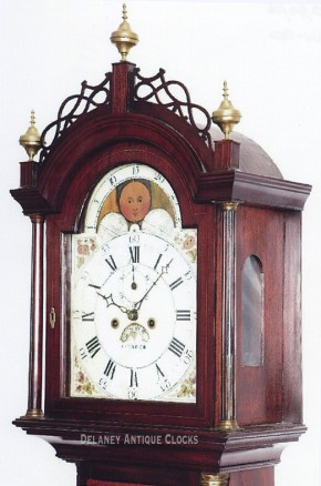 Stephen Taber New Bedford, Massachusetts. An Inlaid mahogany case tall clock.