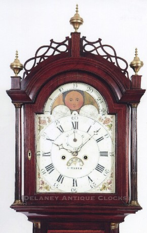 Taber, Stephen. New Bedford, Massachusetts. An Inlaid mahogany case tall clock.