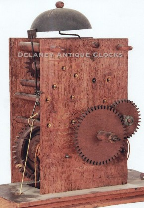 wooden geared movement made by Joseph Ives. Clockmaker.