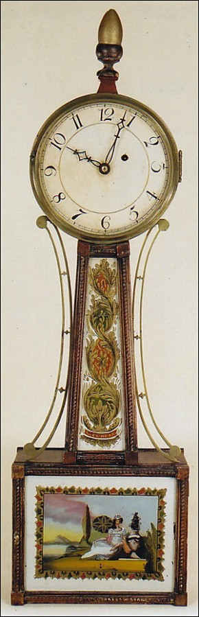 Lemuel Curtis Wall Timepiece or Banjo Clock. Concord, Massachusetts. OO59.